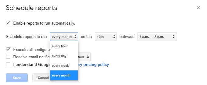 Google Sheets Owox scheduling reports settings